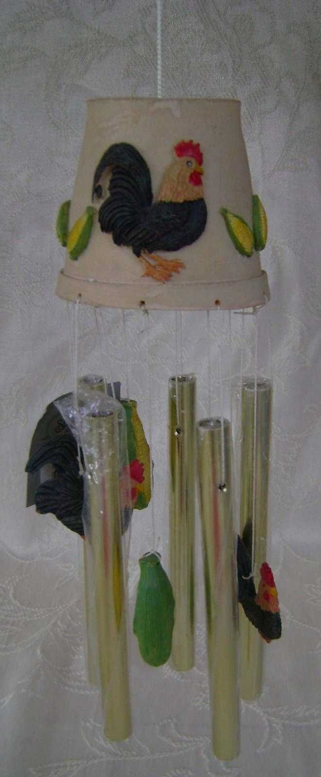 Wind Chimes, Ceramic, Roosters and Corn