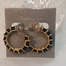 TALBOTS GOLD PLATED BLACK ENAMEL HOOP EARRINGS PIERCED - $12.00