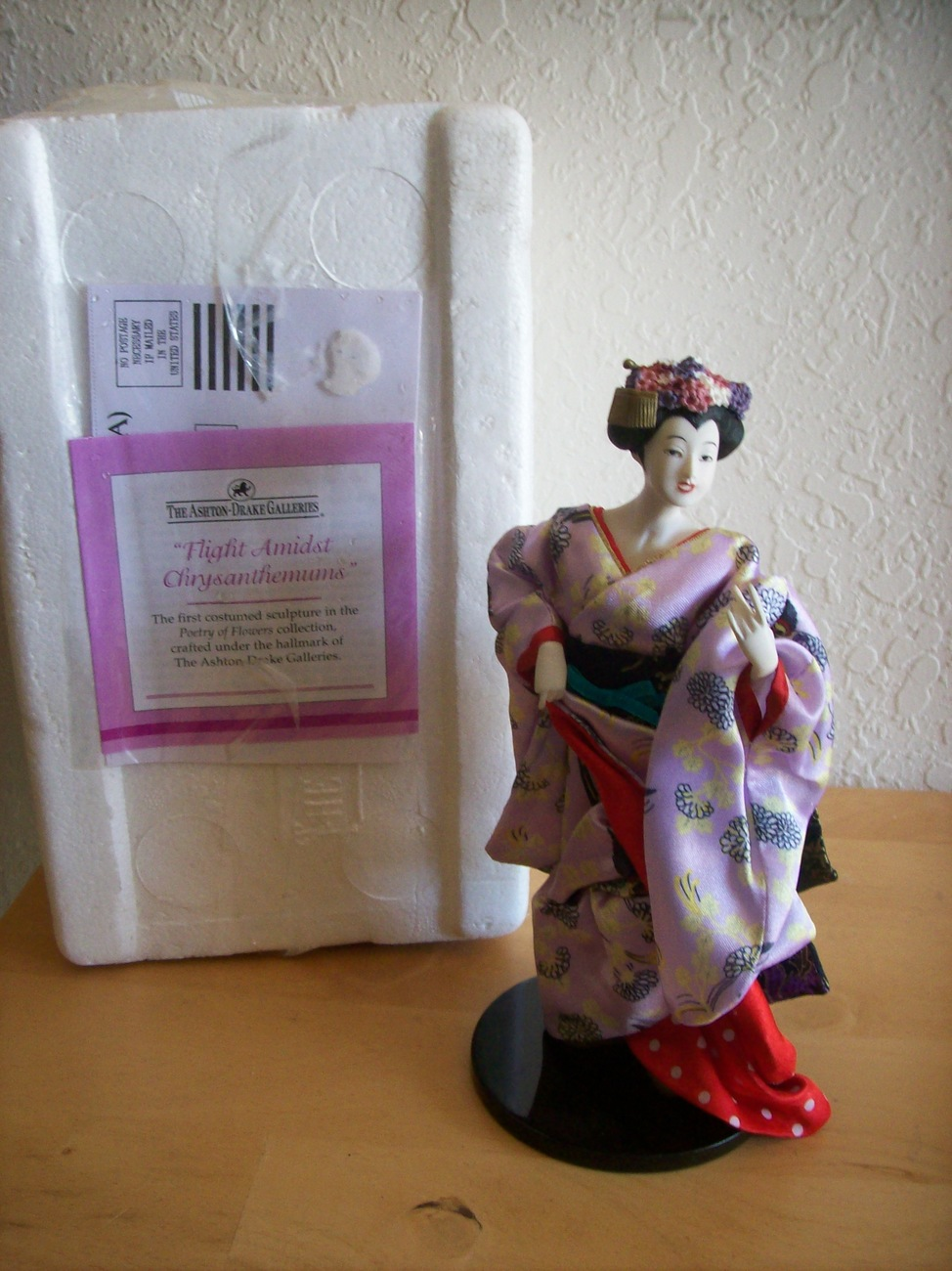 "Ashton-Drake Galleries ""Flight Amidst Chrysanthemums"" Geisha Figurine"