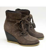Women's LANDS END TENLEY Brown Suede Leather Wedge Ankle Bootie Tassel 9B - $41.58