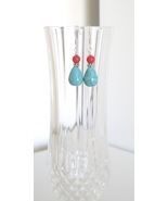 Teardrop Turquoise with Coral Accent Earrings - $8.50