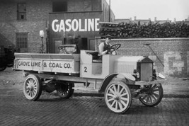 Grove Lime & Coal Company in front of a building sign that reads Gasoline - Art  - $19.99+