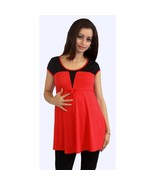Sexy Fun Red Black Color Block Maternity Tunic Top, S, M, L or XL, USA - $19.99