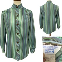 Vintage Sears women's blouse blazer striped button front green size 10 - $23.98