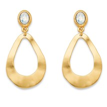 "Oval White Crystal Gold Tone Teardrop Hammered Loop Drop Earrings 2"" - $10.52"