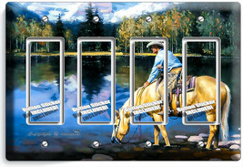 COUNTRY WESTERN COWBOY HORSE LAKE MOUNTAINS 4 GFCI LIGHT SWITCH WALL PLA... - $21.99