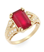 Estate ring 4.3 ct natural ruby and diamond 14k gold - $1,575.00