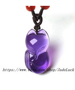 "Hand-carved natural amethyst ""fox"" evil amulet pendant - $26.99"