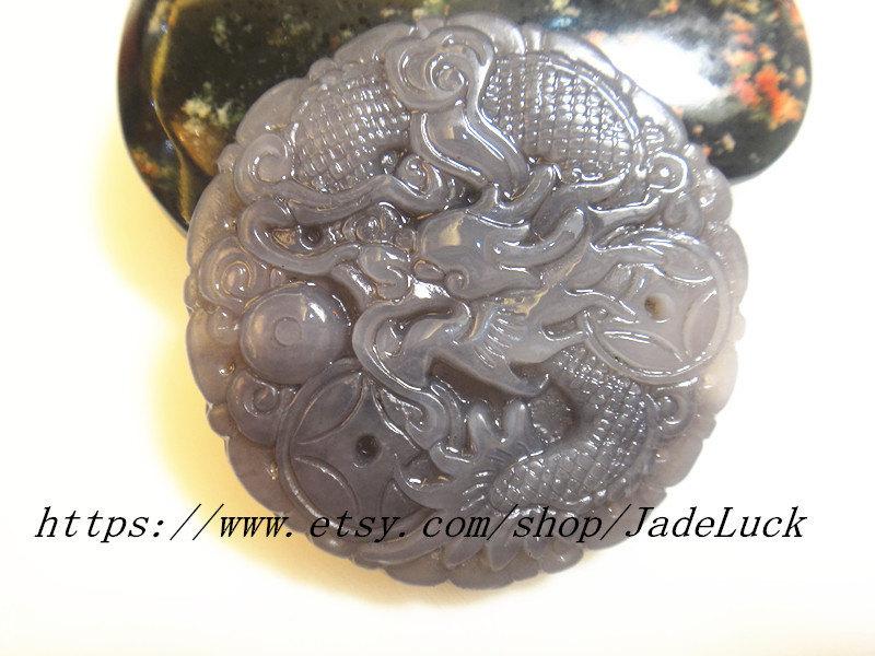 Purple Jade Silver Dragon Phoenix Pendant and Necklace
