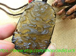 hand-carved natural ice kind of obsidian dragon Ryoma luck cha - $38.99