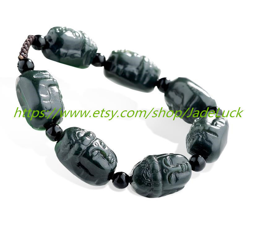 Free Shipping --- good luck hand-carved black jade bracelet jade Guanyin head yo