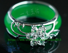 Free shipping ---925 sterling silver, simple OL. Green Jade Ring size ( us size  - $22.99