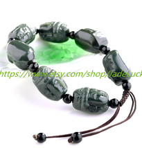 Free Shipping --- good luck hand-carved black jade bracelet jade Guanyin... - $33.99
