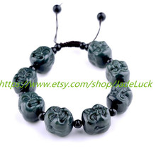 Free Shipping --- good luck hand-carved Buddha head ink jade charm bracelet yoga - $33.99