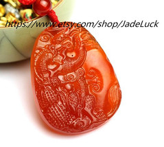 Free Shipping --- hand-carved natural chalcedony pendant dragon - $29.99