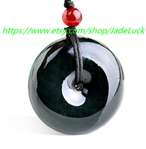 Free shipping --- 100% AAA grade natural black jade jade pendant peace buckle ch - $22.99