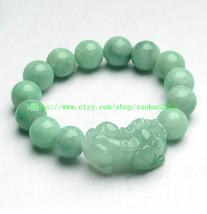 """100% natural green jade """"Pi Yao"""" beaded charm bracelet - $26.99"""