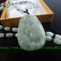 True jade Chinese dragon amulet pendant natural jade beaded necklace charm - $29.99