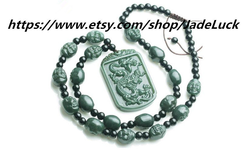 Primary image for AAA grade natural hand-carved green jade 18 Buddha necklace / pendant dragon