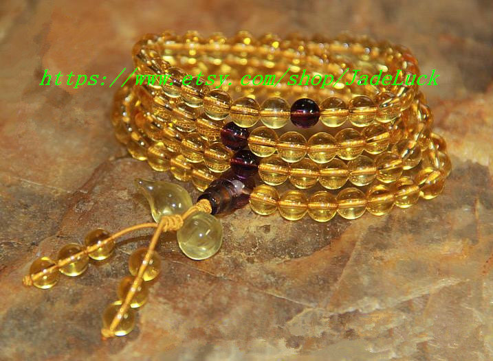"""8 mm 108 natural crystal rosary bead bracelet citrine """"gourd"""" lucky male and fem"""