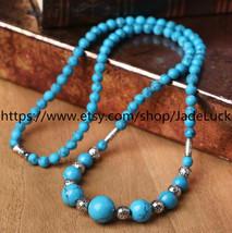 Tibetan Buddhist Meditation Yoga natural blue turquoise beads rosary bead neckla - $23.99