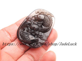 Natural ice kind of obsidian pendant pendant lotus carp jump - $32.99