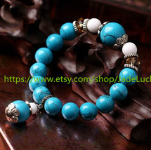 Natural blue turquoise beads bracelet with citrine beads help transport ... - $19.99
