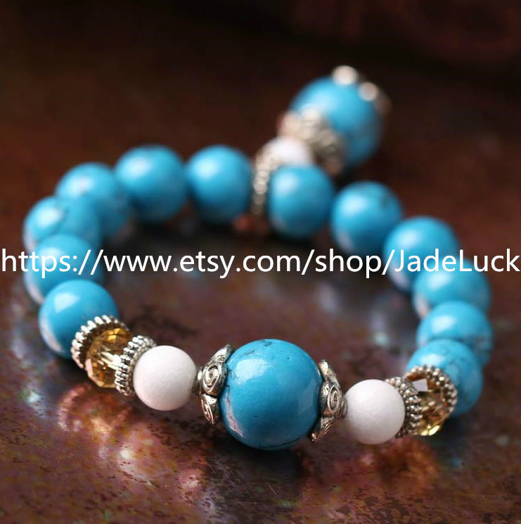 Natural blue turquoise beads bracelet with citrine beads help transport Exorcism