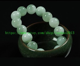 Natural light green jade beads bracelet light green circle circle - $36.99