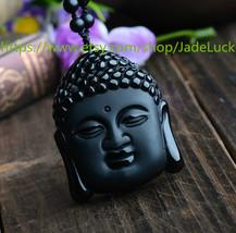 Natural Obsidian Buddha head / Lucky / Evil / security and peace - $23.99
