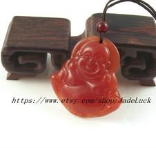 Natural red jade Laughing Buddha charm pendant - $23.99