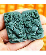 A pair of good luck hand-carved green jade carving real natural double P... - $28.99