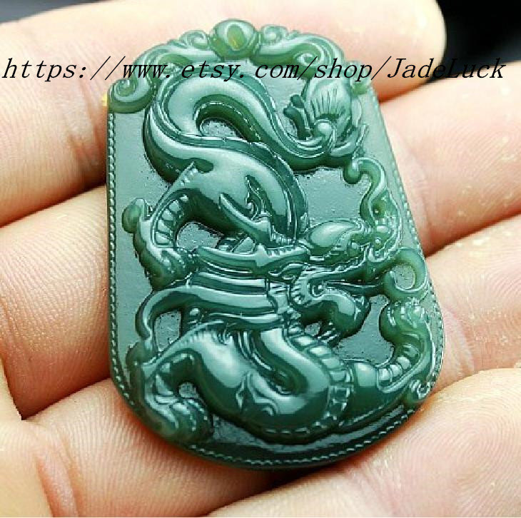 Primary image for of natural jade dragon pendant necklace pendant