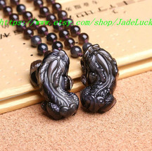 Need ice kind of natural rainbow obsidian eye pendant Pi yao beaded necklace (on - $46.99