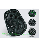 AAA grade natural jade carved pendant Mexican Green Dragons - $680.00