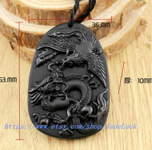 """hand-carved obsidian """"dragon / phoenix / Lucky"""" pendant beaded necklace - $23.99"""