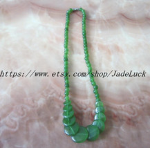 Natural Green Jade charm amulet Good luck beaded necklace / pendant - $23.99