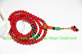 Tibetan Buddhist Meditation Yoga 108 natural red pine stone rosary beads Rosary  - $26.99