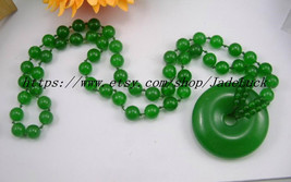 Natural Green Jade charm amulet Good luck beaded necklace / pendant - $26.99