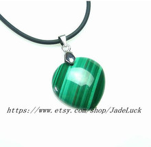 Natural malachite drip-shaped pendant necklace ... - $26.99