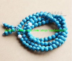 Natural turquoise beads rosary necklace Meditation Yoga 108 - $23.99