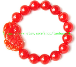 100% pure natural red agate jade Pi Yao charm bracelet - $23.99