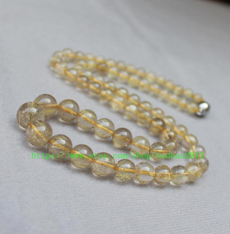 100% AAA grade genuine natural golden blond charm beaded necklace - $36.99
