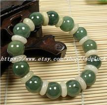 Good luck amulet green jade beads jade peace buckle beaded charm bracelet - $24.99