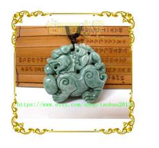 Natural Ice Green White jadeite jade . Charm jade pendant Two Pi Yao amulet pend - $23.99