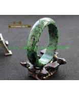 Natural AAA Grade Natural green flower jade bangle (custom size the Diam... - $76.99