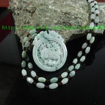 natural green jade bead necklace charm PI YAO pendant - $24.99