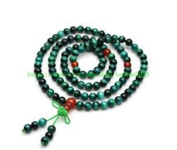 Rare natural green tiger eye gemstone beads 108 beads necklace - $32.00