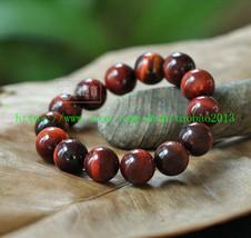 Perfect natural red tiger eye stone beads charm bracelet Mala - $23.99