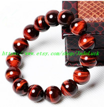 Perfect natural red tiger eye stone beads charm bracelet Mala - $29.99